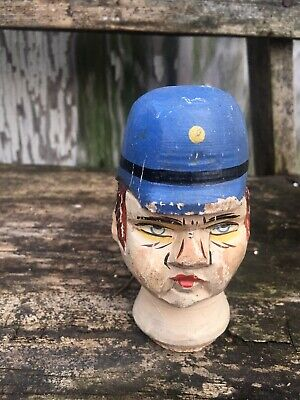 Antique Wooden Folk Art Policeman Head Face Bottle Topper Decor