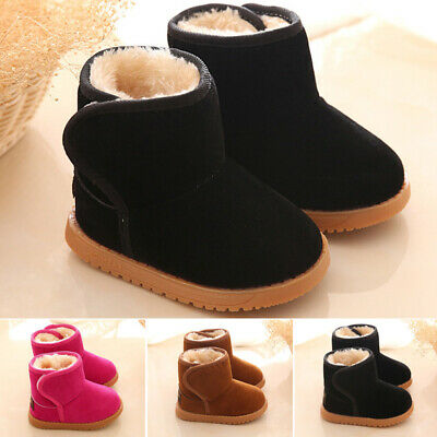 Kids Girls Baby Fluffy Soft Slip On Ankle Boots Flat Round Toe Winter Snow Shoes