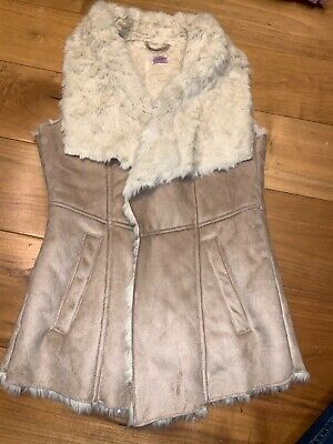 Florence and Fred faux suede fur lined gilet tan beige age 12-13 years BNWOT