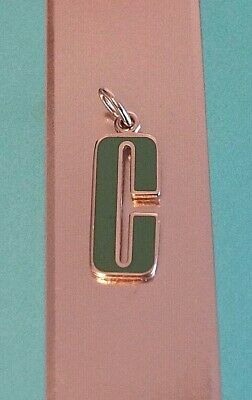 Tiffany & Co Sterling 925 Silver Enamel Alphabet Letter C Pendant for Necklace