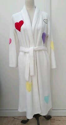 NEW M&S Age 13 14 White Heart Pink Soft Touch Dressing Gown Night Robe BNWT