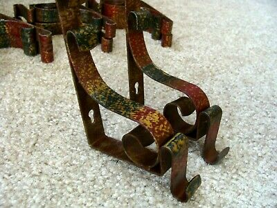 ONE PAIR  Antique Curtain Drapery Rod Holder Mounting Brackets 1920's Polychrome