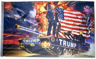President Donald Trump With Fireworks Standing On Tank 3 Foot By 5 Foot Flag