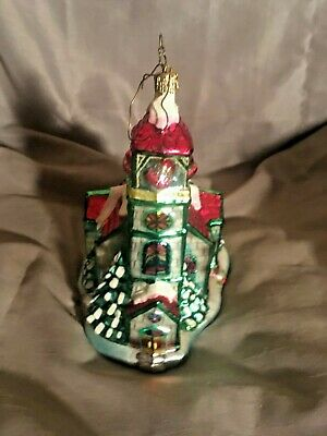 "Beautiful Hand Crafted Church Ornament from Saks 6.25"" Tall"