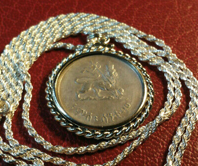 """1944 Lion of Judah Ethiopian Silver Coin Pendant & 24"""" Italy Silver Rope Chain"""