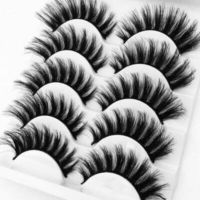 5Pairs 3D Mink False Eyelashes Wispy Cross Long Thick Soft Fake Eye Lashes