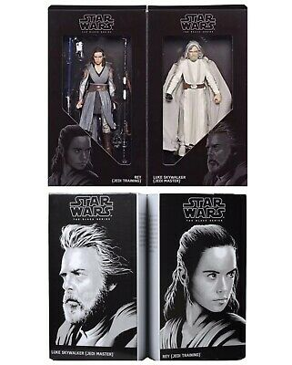 "Star Wars 6"" Black Series SDCC 2017 LUKE SKYWALKER & REY The Last Jedi Dmgd Pkg"