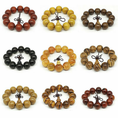 Multi Timber 20mm Natural Wood Beads Buddha Prayer Bracelet Hand Chain UK Ship