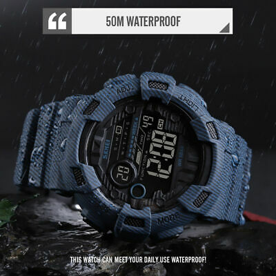 SKMEI Men's Digital LED Alarm Sport Quartz Waterproof Wrist Countdown Watch US