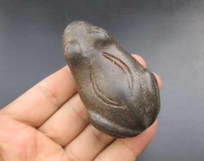 Antique China Hongshan Culture Meteorite Jade hand-carved frog Amulet Pendants