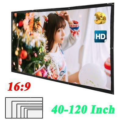 "40-120"" 16:9 HD 3D Foldable Projector Screen Portable Home Outdoor Theater Movie"