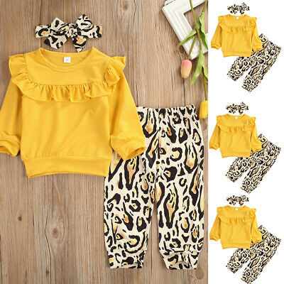 Toddler Kids Baby Girl Clothes Ruffle Tops T-shirt Leopard Pants Leggings Outfit