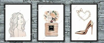 Set of 3 Coco Rose gold Effect Print Dressing Room Bedroom Poster Gift