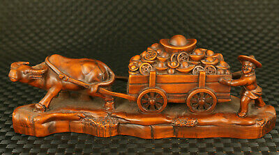 chinese old boxwood cow pull purse fortune statue figure table home decoration