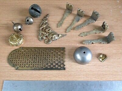 Antique Clock Makers Scrap Box Odds And Ends Brass Bells Castings Fretwork