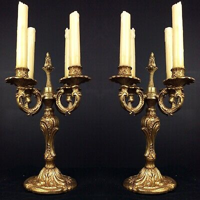 Stunning PAIR of Antique Bronze French 4 Arm Rococo Candle Holder Candelabras