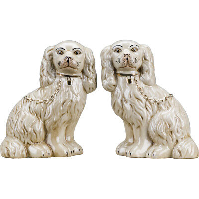 "Reproduction Staffordshire Dogs Spaniel Pair Antique Cream Figurines 9""H"