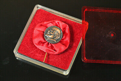 USSR Soviet Russia LENIN Heavy Bronze Pin Badge PROPAGANDA in Original BOX #282