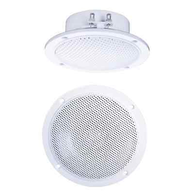"""2 x White 4"""" 60W Moisture Resistant Ceiling Speakers for Kitchen & Bathroom 4Ohm"""