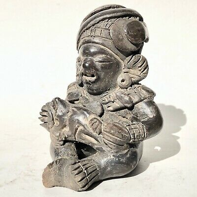 Ancient Pre Columbian Pottery Central or South America Blackware Figure