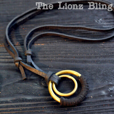 Urban Vintage style Genuine Leather Necklace with Double Ring Pendants