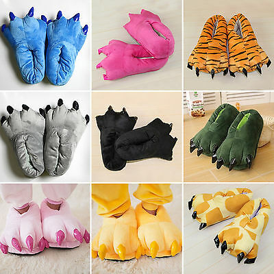 Adult Kid Animal Monster Feet Slippers Claw Dinosaur Paw Plush Winter Warm Shoes