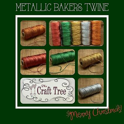 Christmas Metallic Bakers Twine / String / Cord 2mm width -- Various lengths