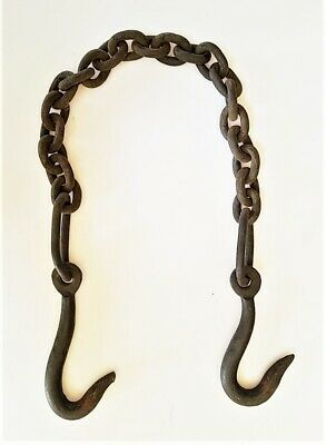 1800s antique TRAMMEL heavy IRON CHAIN blacksmith fireplace forged HITCH