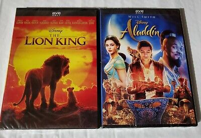 Lion King Live Action and Aladdin Live Action DVD 2 Movies Brand New Bundle