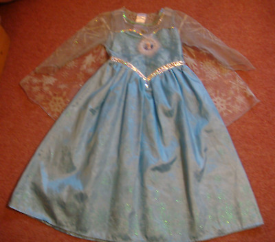 Girls ELSA FROZEN DISNEY Fancy Dress with cape - age 5-6 years - Excellent! :)
