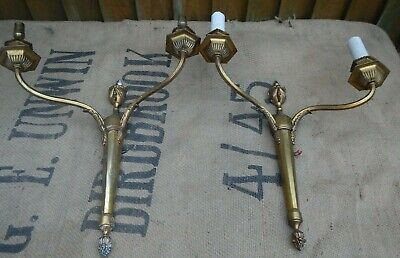 Pair Vintage French Empire Style Gilt Bronze Two Arm Wall Sconce Candle Lights