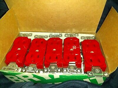Lot Of 10 Bryant Red 5242-Red 15 Amp 125V Grnd 2P 3W  Duplex Receptacles Nib