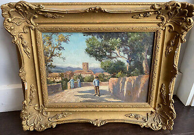 French Impressionist 19th Century Oil Painting Figures Walking Under Palm Trees