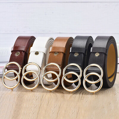 NEW Double Round Circle Buckle Women Waist Belt for Ladies Jeans Causal AU