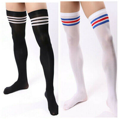 New Men Soccer Thigh Stocks Velvet High Stockings Sport Striped Long Socks