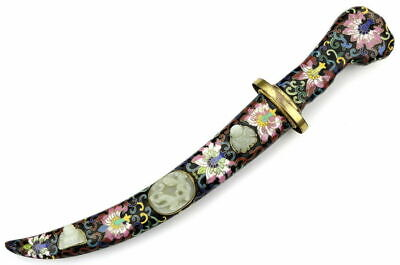 Antique 19th C. Chinese Cloisonne Enamel + White Jade Presentation Dagger Knife.