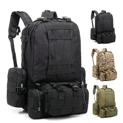 4 In 1 50L Hiking Camping Bag Army Military Tactical Rucksacks Cycling Backpack
