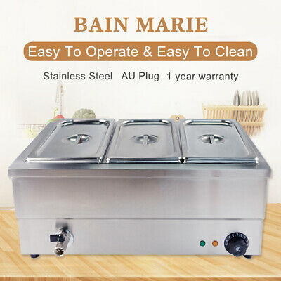 3 Pots Bain Marie Electric Food Warmer Displays Stainless Steel Wet Well