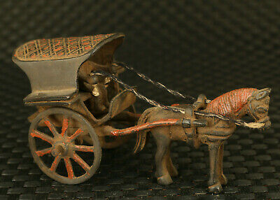 chinese fine old bronze hand casting carriage statue collect table ornament