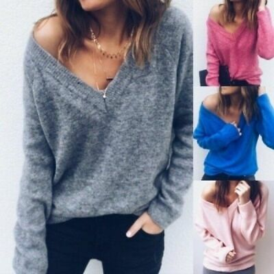 Women Sexy Slim Knitted V-Neck Cashmere Long Sleeve Jumper Pullover Sweaters