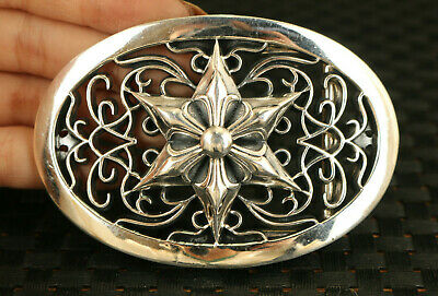 100% 925 Silver Hand Carved flower Statue noble belt fastener decorate gift