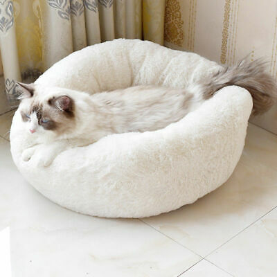 Comfy Calming Dog/Cat Bed Round Super Soft Plush Pet Bed Marshmallow Cat Bed M L