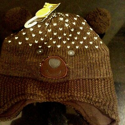 JOHN LEWIS BROWN BEAR FULLY LINED BOBBLE HAT. AGE 2 to 3 YEARS. NEW WITH TAG