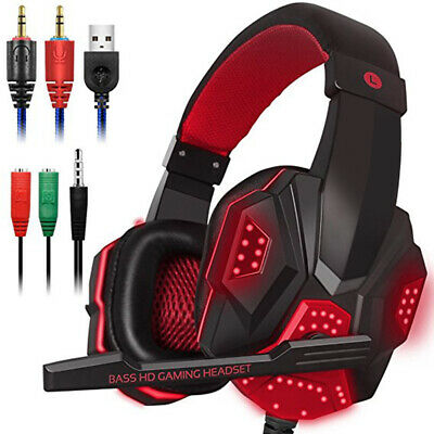 Gaming Headset Stereo Surround Headphone 3.5mm Wired Mic For Laptop Xbox one/PS4