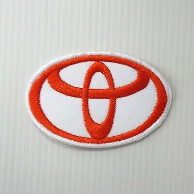 "3.0""x1 pc. white toyota emblem motor auto racing embroidered iron on sew patches"