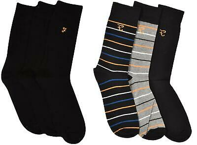3PK Mens Socks Stripe Plain Sock Farah Cotton Stretch Xmas Gift Size UK 6-11