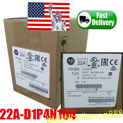 USA SHIP Allen-Bradley 22A-D1P4N104 PowerFlex 4,RS485 0.4kW 480V AC Drive LED CE
