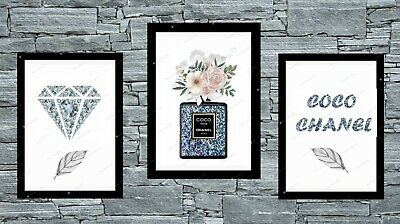 Set of 3 Coco Chanel Blue Silver/Grey Wall Art Print Bedroom Poster unframed A4