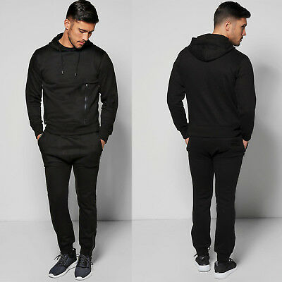 Mens ENTT King Black Full Tracksuit Slim Fit Joggers Pants Bottoms Hoody Gym Top