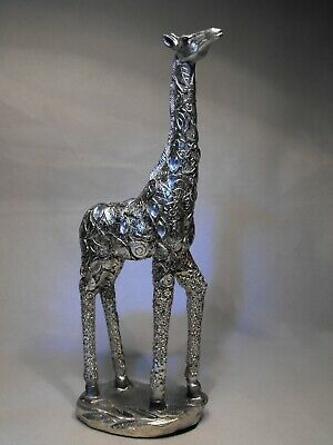 Silver GIRAFFE Lying 20cm Figurine Ornament Silver Filigree Art Deco Gift